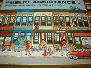 1980s Banner Anti-Welfare Board Game Public Assistance Why Bother Working for a Living?